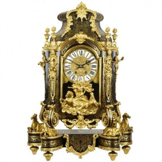 Large, 19th Century Boulle inlaid Mantel clock