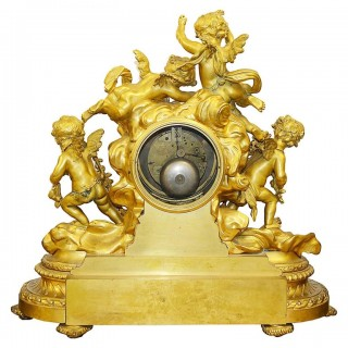 Large Louis XVI Style Ormolu Clock Set by Deniere