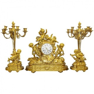 Large Louis XVI Style Ormolu Clock Set by Deniere