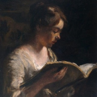 Young Girl Reading a Book.