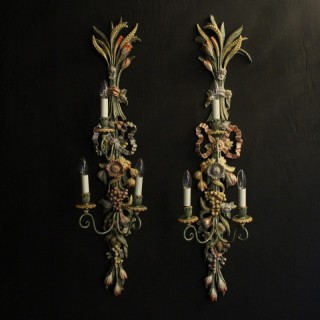 Italian Large Pair Of Polychrome Wall Lights