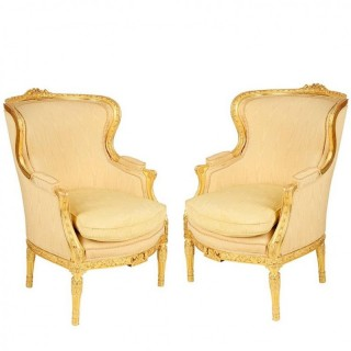 Pair of Louis XVI Style Wing Armchairs