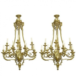 Large Pair of Classical Ormolu 19th Century Chandeliers