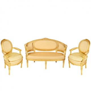 Louis XVI Style Sofa and Pair of Armchairs, 19th Century