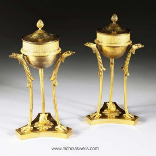 A PAIR OF RUSSIAN GILT BRONZE PERFUME BURNERS