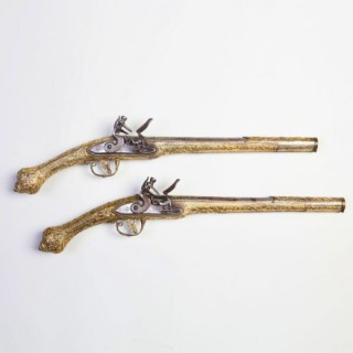 RARE PAIR OF SILVER GILT BALKAN FLINTLOCK PISTOLS