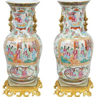 Pair of 19th Century Rose Medallion Vases on Ormolu Bases