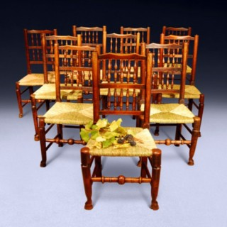 Set of 10 C.18th Oak and Ash Country Spindle back Chairs