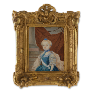 Portrait miniature of Fredrika Charlotta Insenstierna (1757-1811), wearing the sash and order of the Vadstena adliga Jungfrustift, column background with draped fabric, c.1761