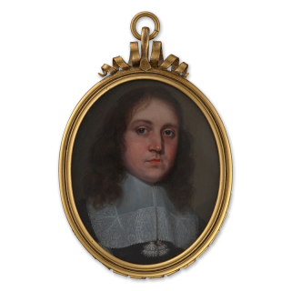 Portrait miniature of a Gentleman, wearing a white lace falling collar with tassels, c.1670