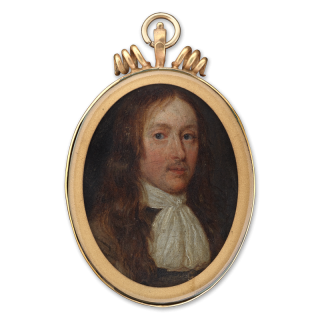 A Portrait miniature of a Gentleman, probably John Hampden (1595-1643), wearing brown coat and tied lawn jabot, his hair worn long