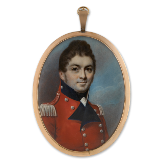 A portrait miniature of Lt. Col. Otto William Offeney (d.1812), (Quartermaster General to the British Army) of the Second Light Battalion of the Kings German Legion, wearing scarlet coat with dark blue facings, silver epaulettes and buttons, 1807