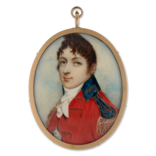 Portrait miniature of A young Officer, wearing staff officer's uniform for the rank of a major-general, his scarlet coat with lace in pairs, dark green collar and epaulette, the regiment '2DG' on his shoulder belt-plate, c.1800