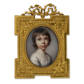 A portrait miniature of a young Girl, wearing white dress, circa 1800
