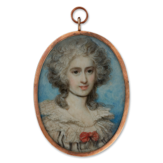 Portrait miniature of 'Lady Hampton', wearing white dress with wide frilled neckline and red bow, her hair powdered, c. 1785