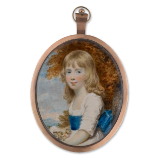 Portrait miniature of a Young Girl, wearing white dress, tied with a blue sash, holding flowers in her lap and set in a landscape background