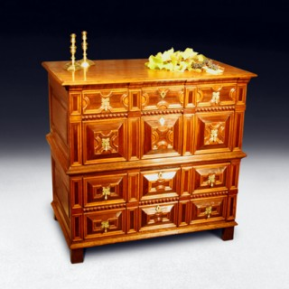 Charles II period 2-part Oak Chest of Drawers