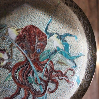 Early 20thC Enamel Painted Japanese Satsuma Stoneware Charger