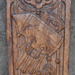 17th century carved oak trophy panel