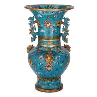 Two antique Chinese cloisonne enamel and gilt vases