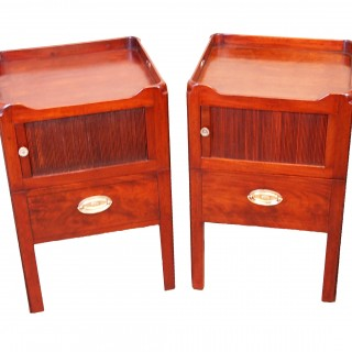 Antique Georgian Mahogany Pair Of Tray Top Bedside Night Tables