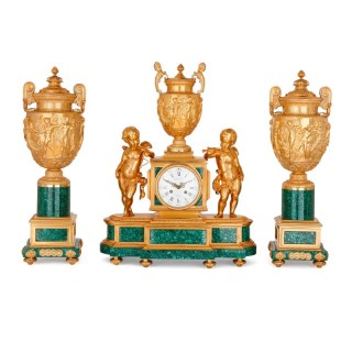 19th Century Neoclassical style gilt bronze and malachite clock set