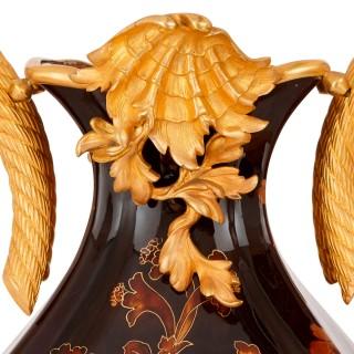 19th Century porcelain and gilt bronze centrepiece garniture
