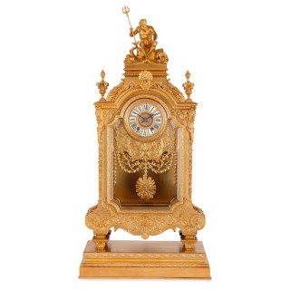 Antique gilt bronze mantel clock by Sevin and Barbedienne