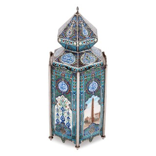 Unusual Russian-made silver and enamel Islamic vase