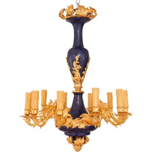 Gilt metal and lapis lazuli twelve-light chandelier
