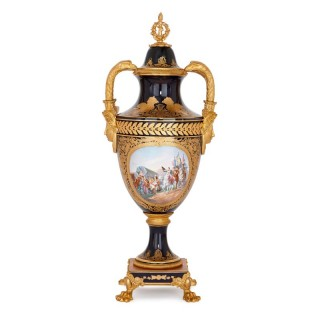Empire style porcelain and gilt bronze Napoleon vase
