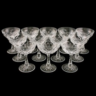 Twelve Edwardian Champagne Glasses