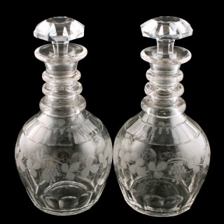 Pair of Stuart Engraved Glass Decanters