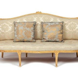 George III Period Giltwood Sofa, in the Chippendale Manner