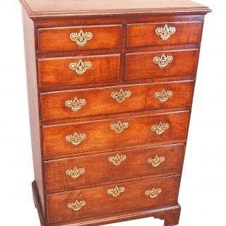 Antique Tall Georgian Oak Chest Of Drawers