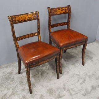 Two Dutch Marquetry Inlaid Mahogany Side Chairs