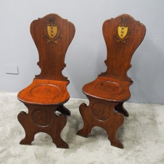 Pair of Renaissance Sgabello Style Mahogany Hall Chairs