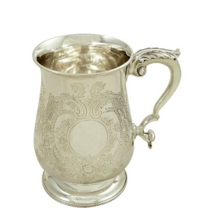 Antique Victorian Sterling Silver Pint Mug / Tankad 1863