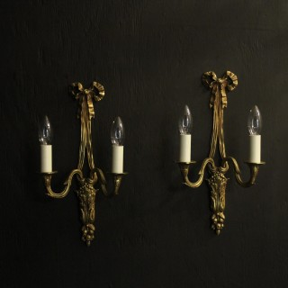 French Pair Of Ribbon Antique Wall Lights