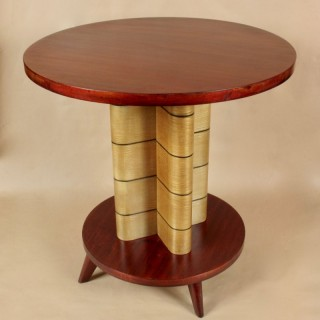 1960 Design Mahogany Ash Wood Round Table