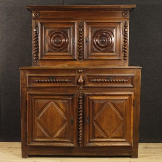 18th Century Walnut Wood French Louis XIII Style Double Body Cupboard, 1770