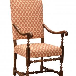 Walnut upholstered armchair. Italian, late 17th century