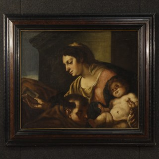 17th Century Oil On Canvas Italian Religious Painting Virgin With Child, 1680