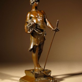 "A rare, very fine cast small bronze sculpture of:  "" En Triomphe ""  by: Antoine Bofill ( Barcelona 1875-1921 )"