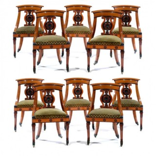 TEN FRENCH ANTIQUE SATINWOOD SIDE CHAIRS – CHARLES X PERIOD –