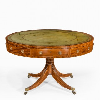 A late George III revolving mahogany drum table attributed to Gillows
