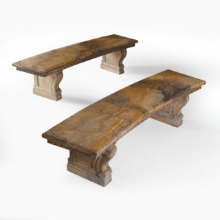 PAIR OF CURVED SOLID SIENNA MARBLE BENCHES