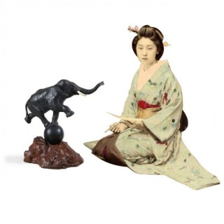 JAPANESE MEIJI BRONZE ELEPHANT SCULPTURE