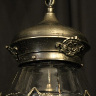 French Silver Gilded Glass Antique Lantern