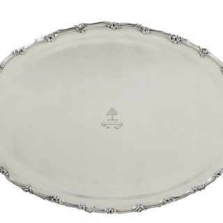 Antique Sterling Silver 23″ Oval Tray – 1912 – Stand Sure